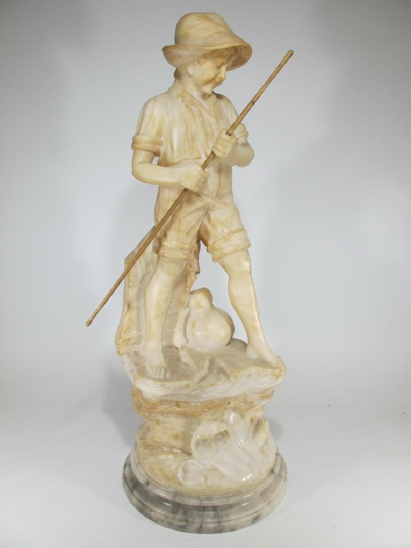 Antique European alabaster boy sculpture