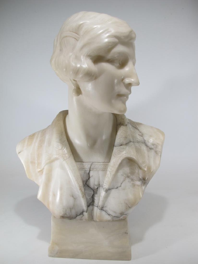 French Art Deco alabaster woman bust sculpture