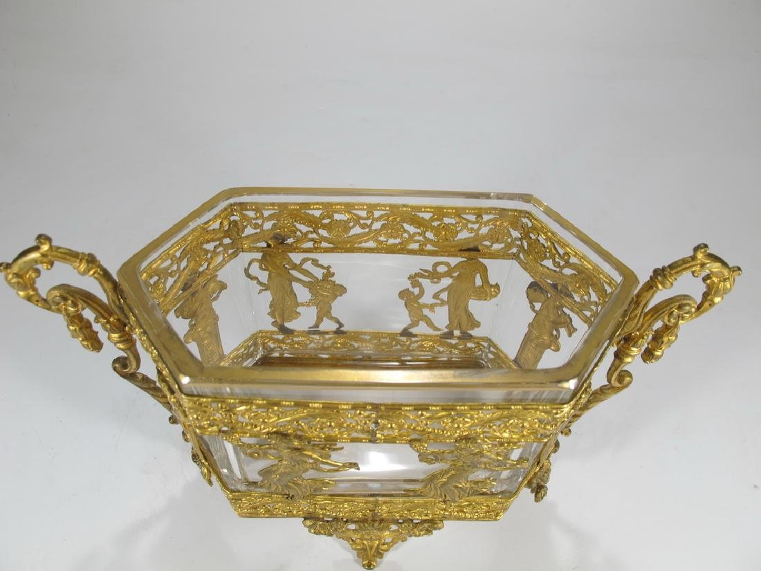 Antique French Baccarat style bronze & crystal - 2