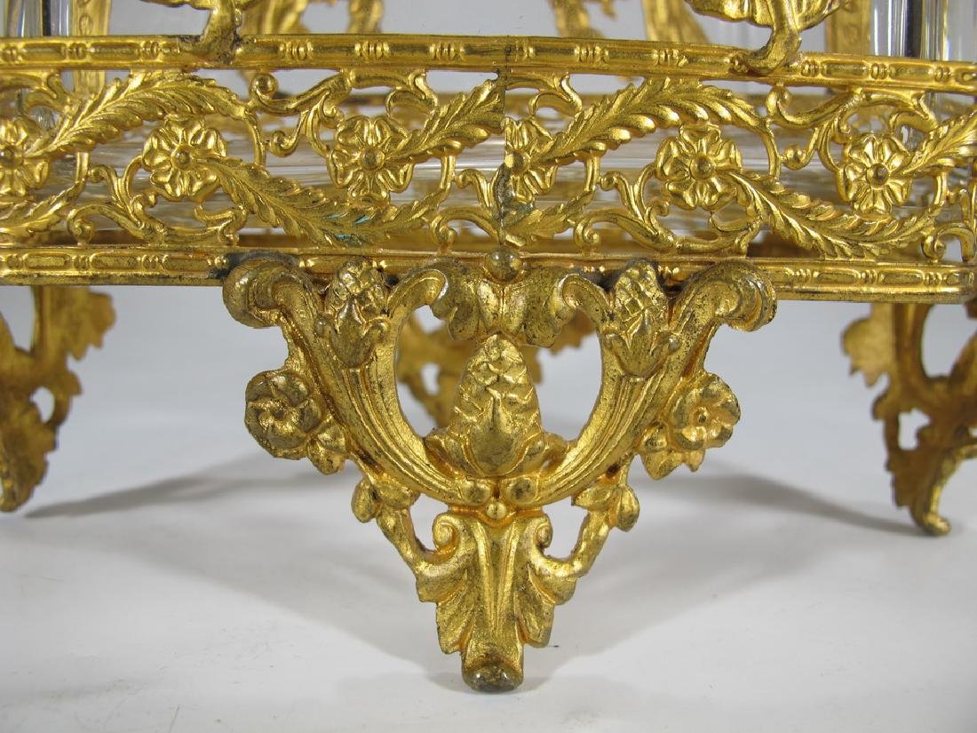 Antique French Baccarat style bronze & crystal - 4