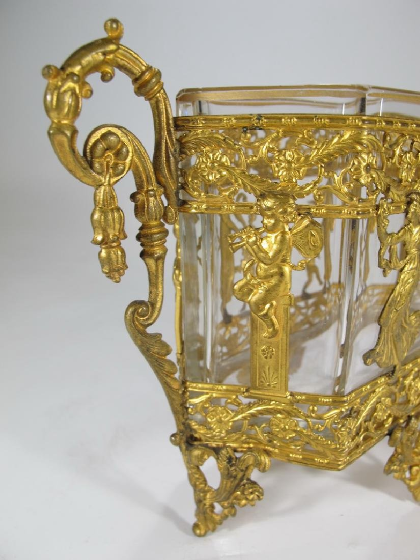 Antique French Baccarat style bronze & crystal - 5