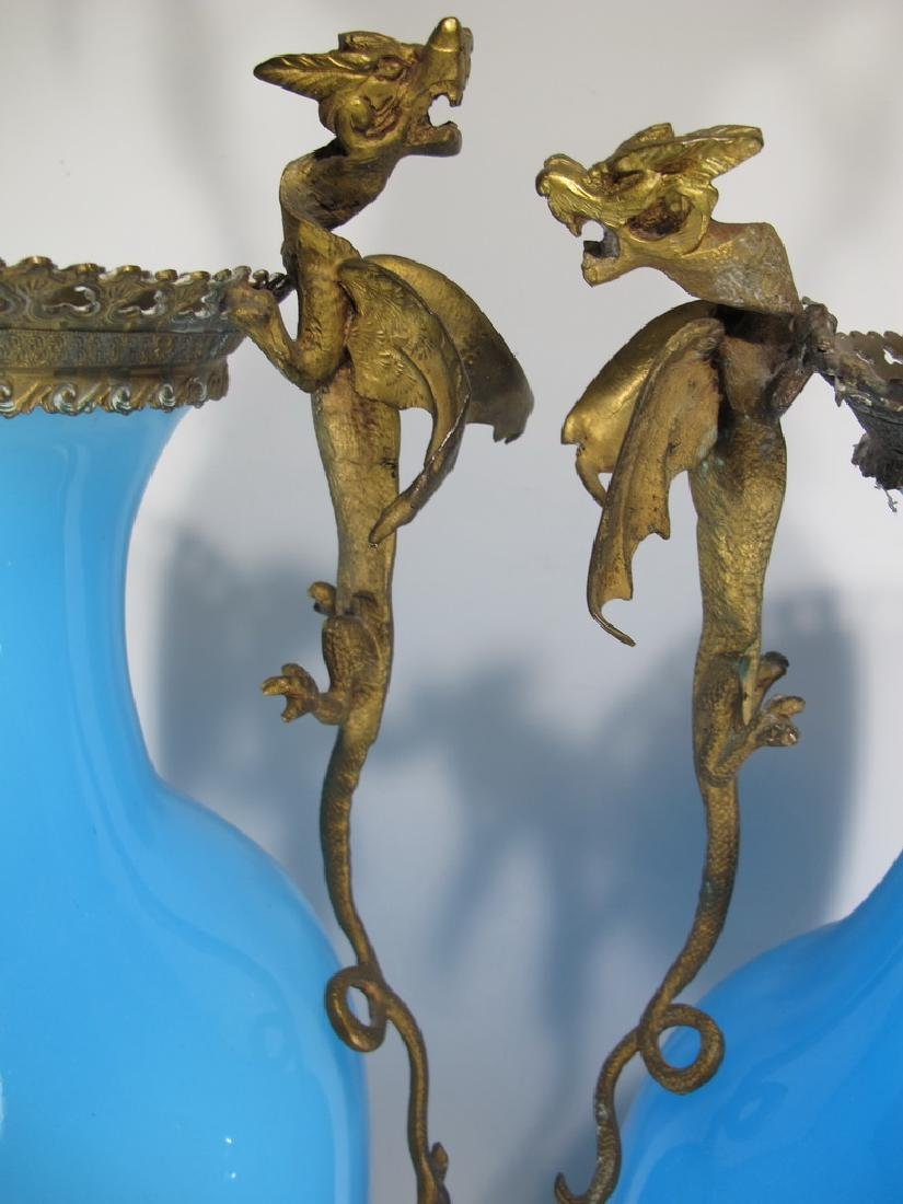 Antique French pair of blue opaline & bronze vases - 3
