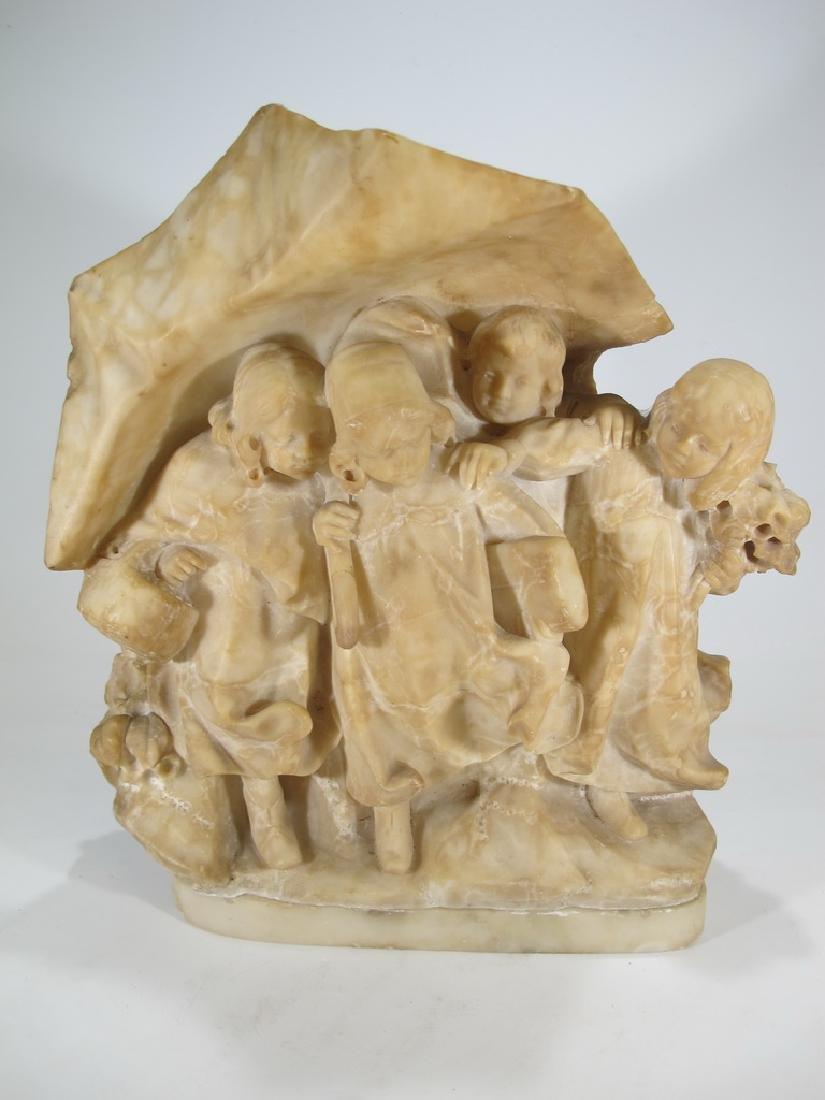 Antique French alabaster group od kids sculpture