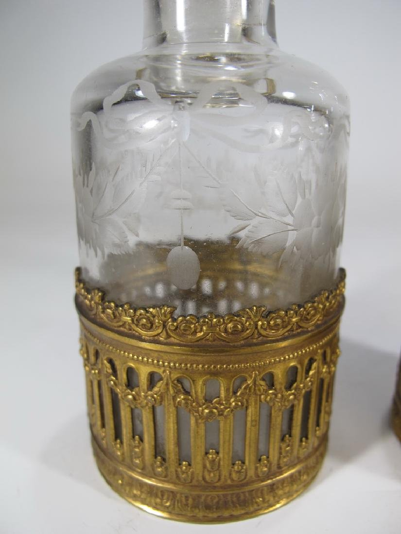 Antique French Baccarat style pair of bottles - 3