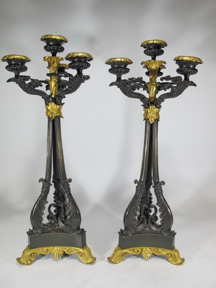 19th C French pair of bronze candelabras