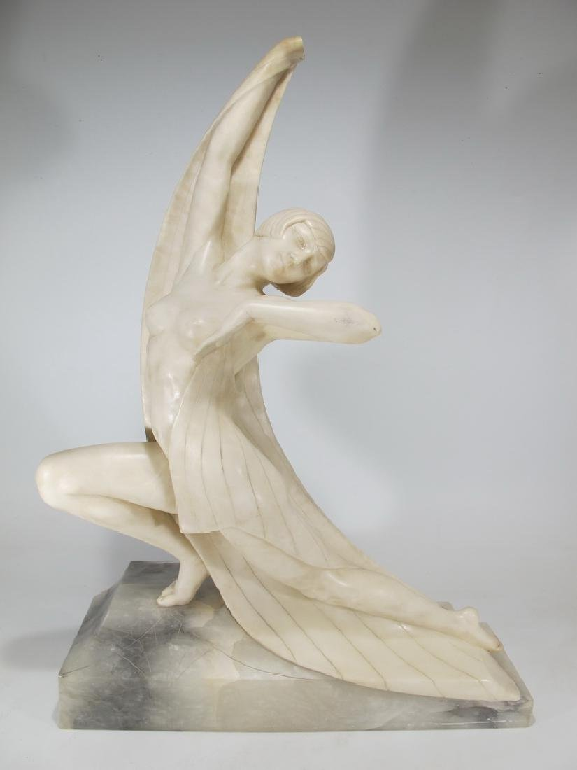Italian Art Deco alabaster woman sculpture