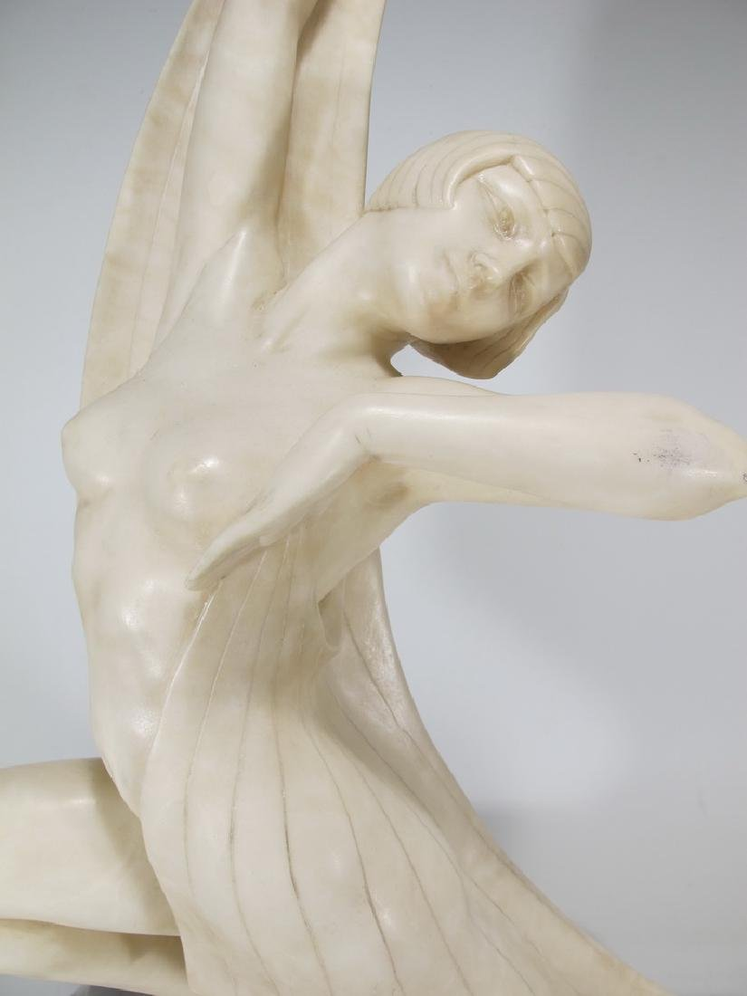 Italian Art Deco alabaster woman sculpture - 2