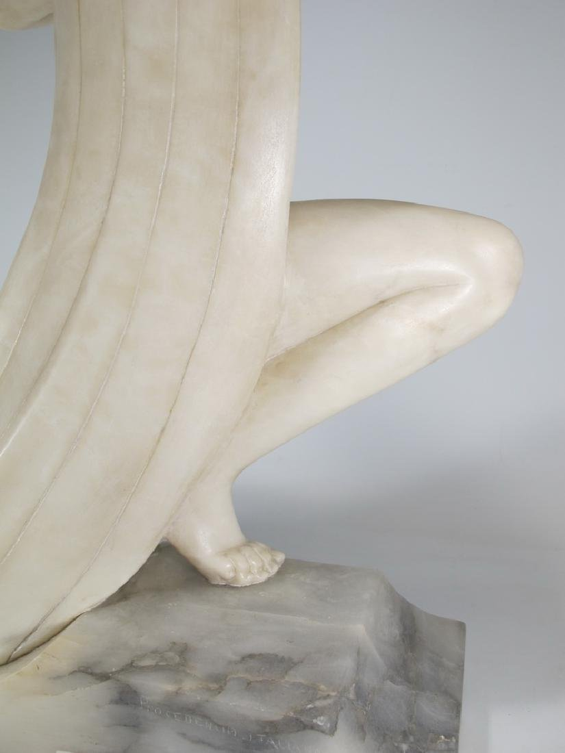 Italian Art Deco alabaster woman sculpture - 8