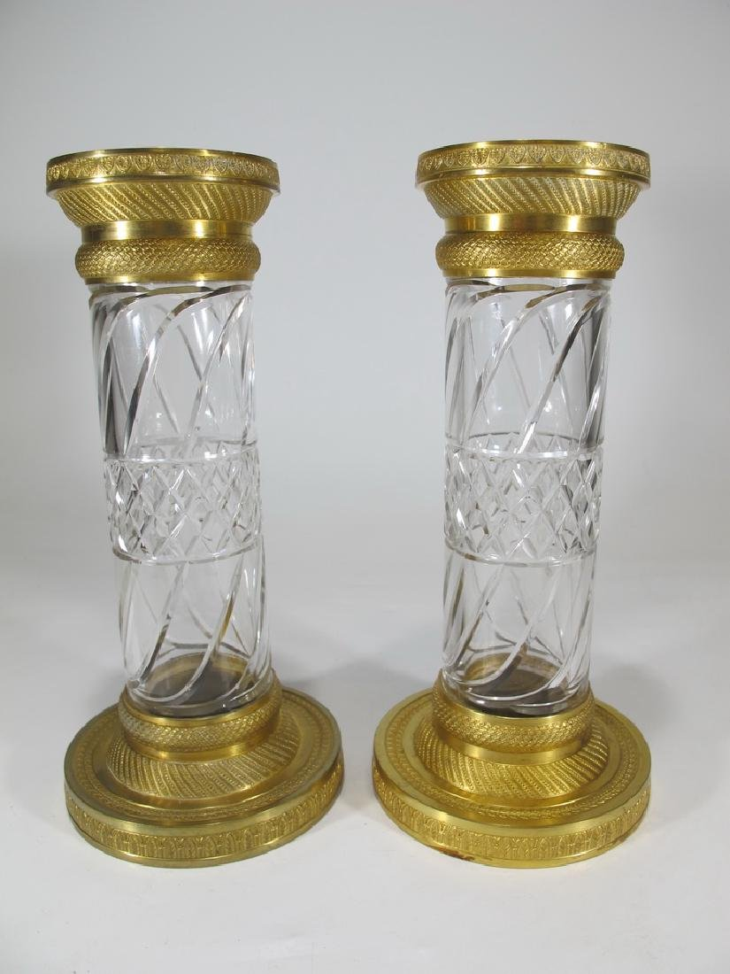 Antique French Baccarat style pair of bronze & crystal