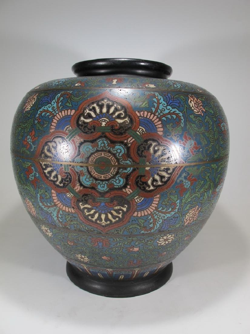Huge antique Oriental cloisonne vase