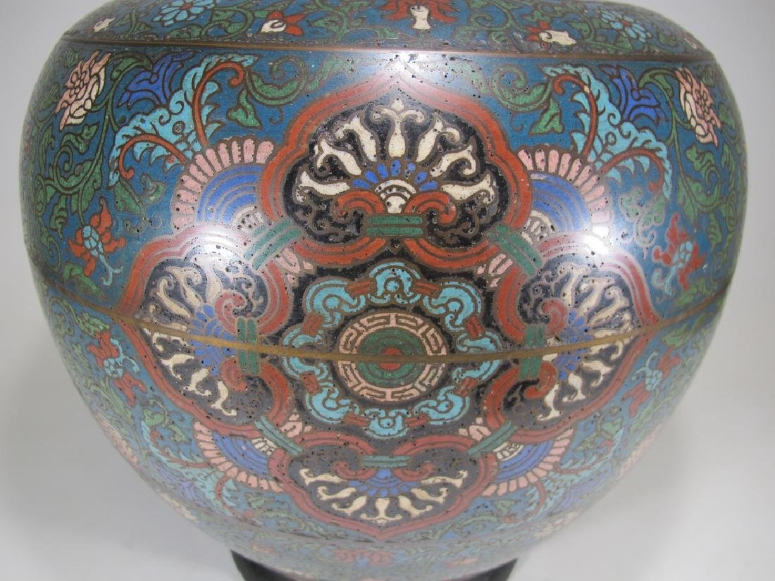 Huge antique Oriental cloisonne vase - 3