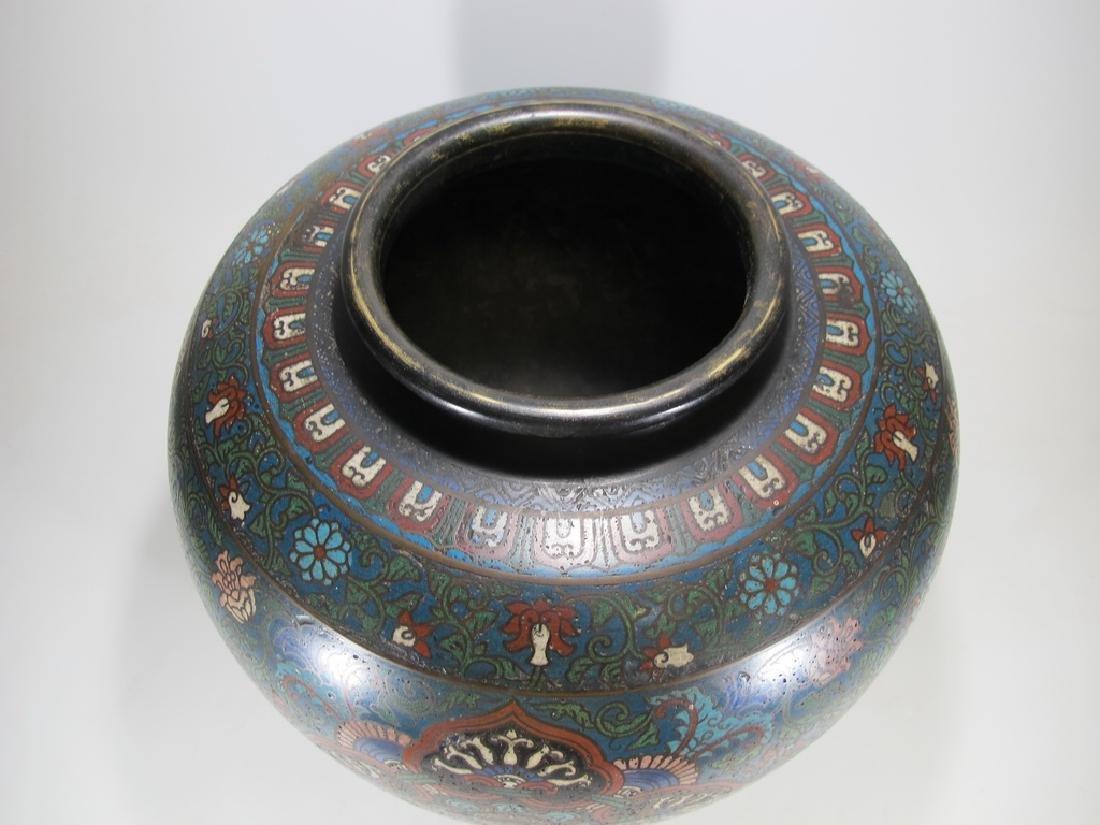 Huge antique Oriental cloisonne vase - 4