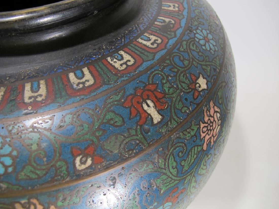 Huge antique Oriental cloisonne vase - 5