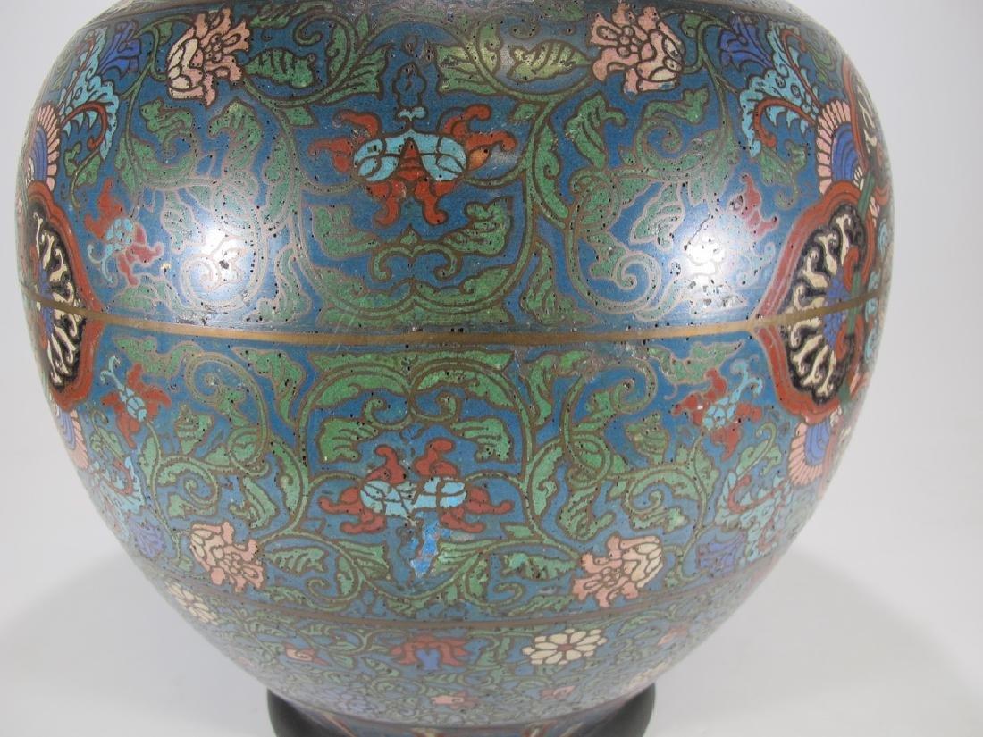 Huge antique Oriental cloisonne vase - 6