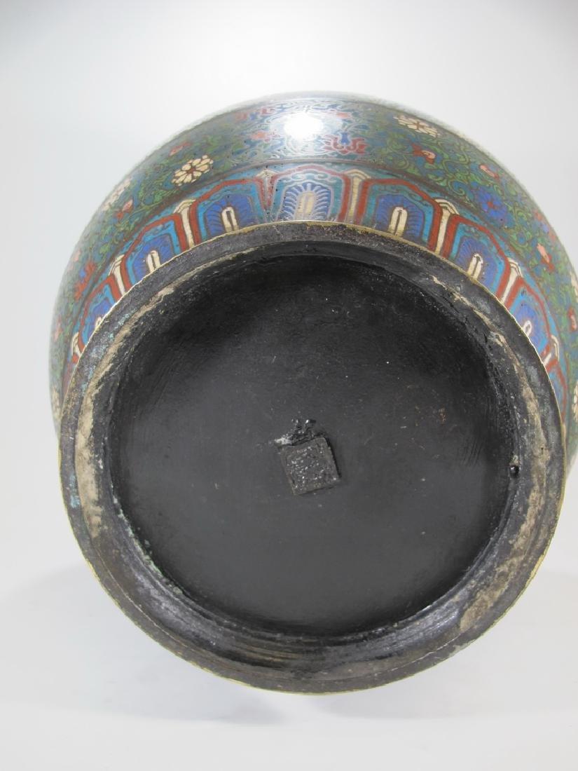 Huge antique Oriental cloisonne vase - 8