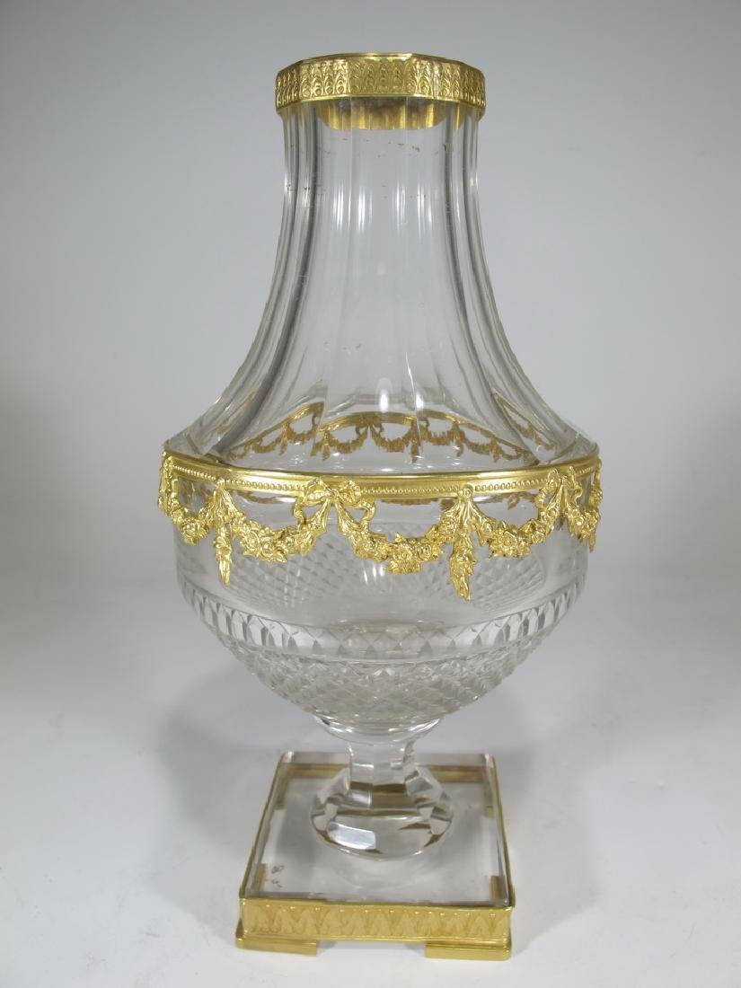 Antique French Baccarat style bronze & crystal urn