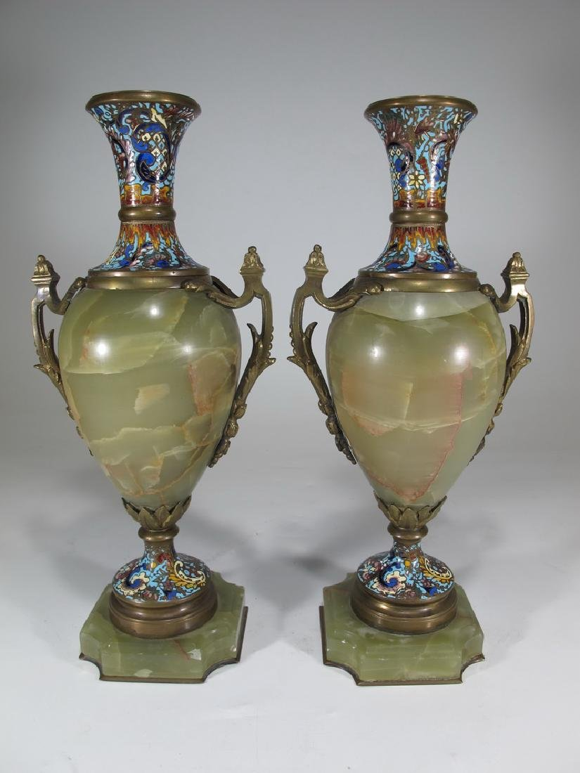 Antique French pair of bronze champleve & onyx urns