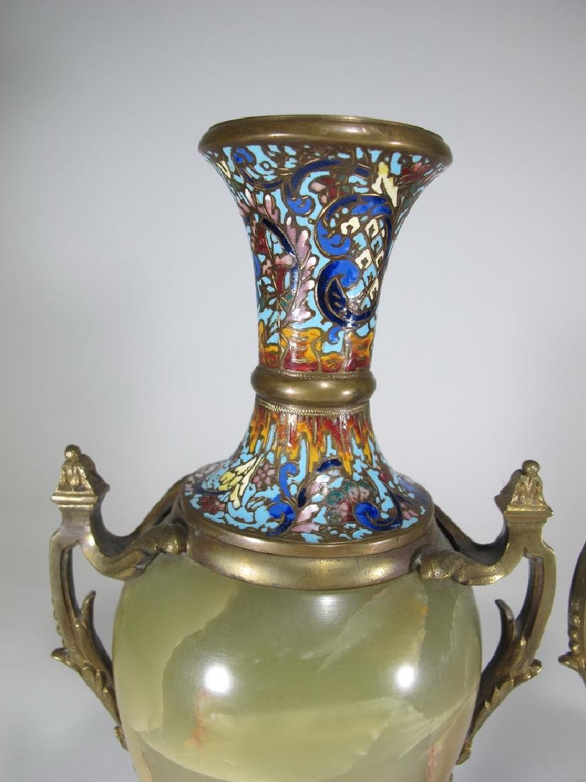 Antique French pair of bronze champleve & onyx urns - 2
