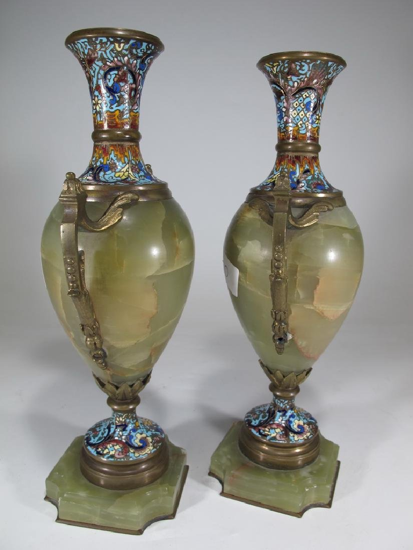 Antique French pair of bronze champleve & onyx urns - 4