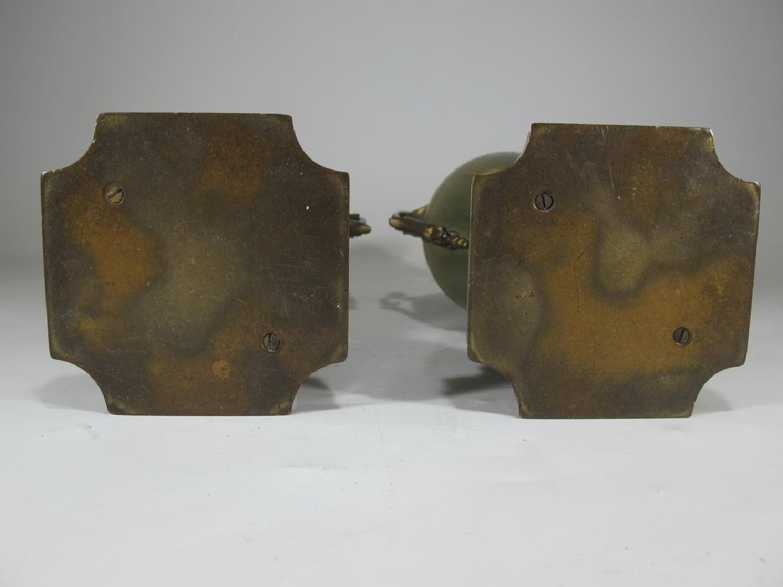 Antique French pair of bronze champleve & onyx urns - 6