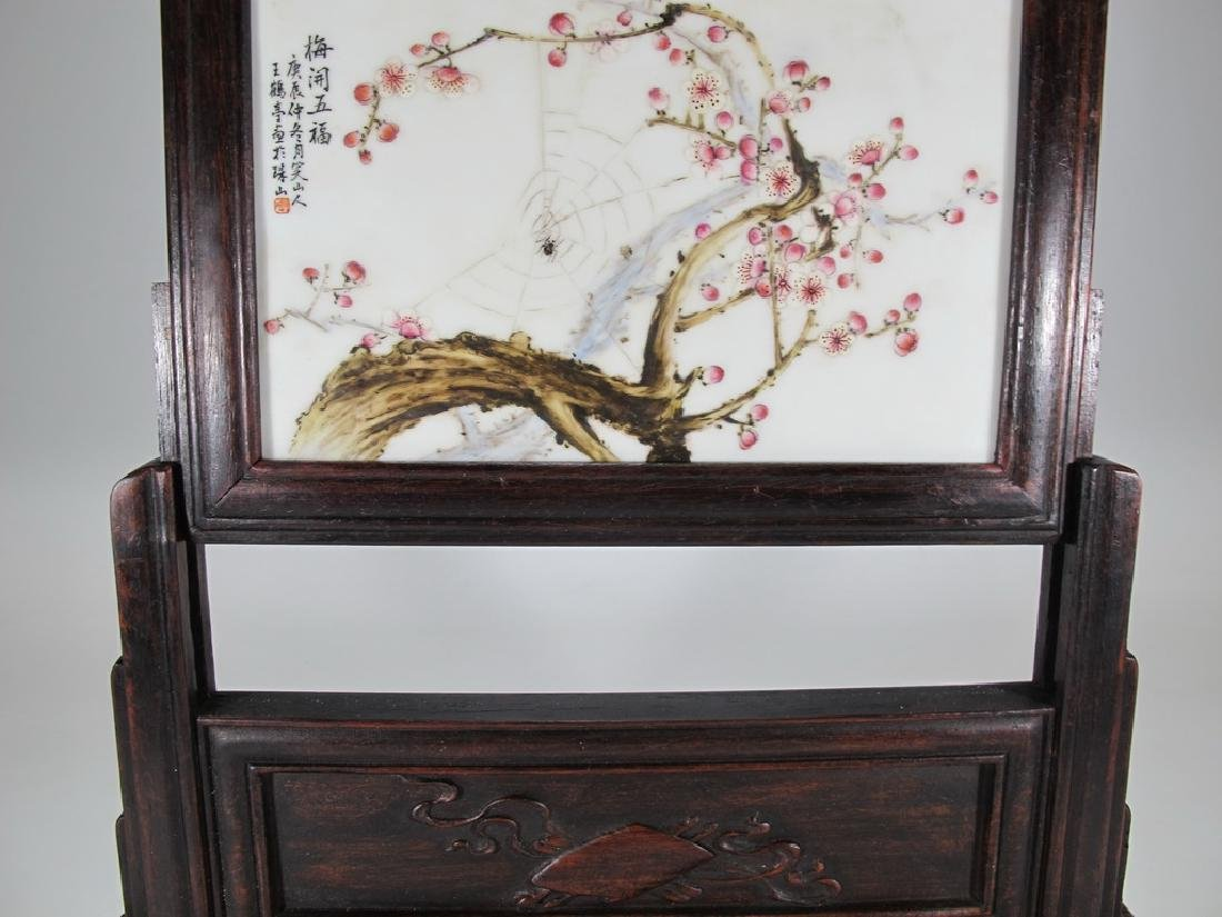 Antique Japanese wood & porcelain screen - 5