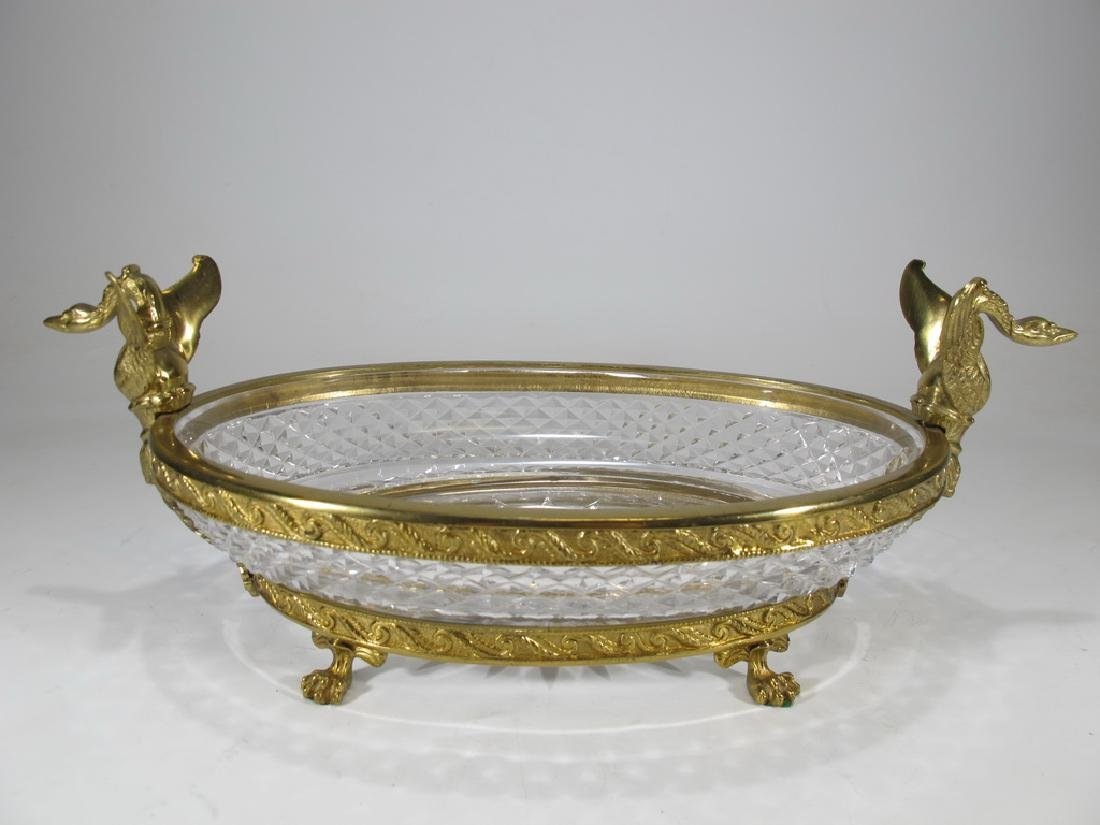 Antique French Baccarat style bronze & crystal
