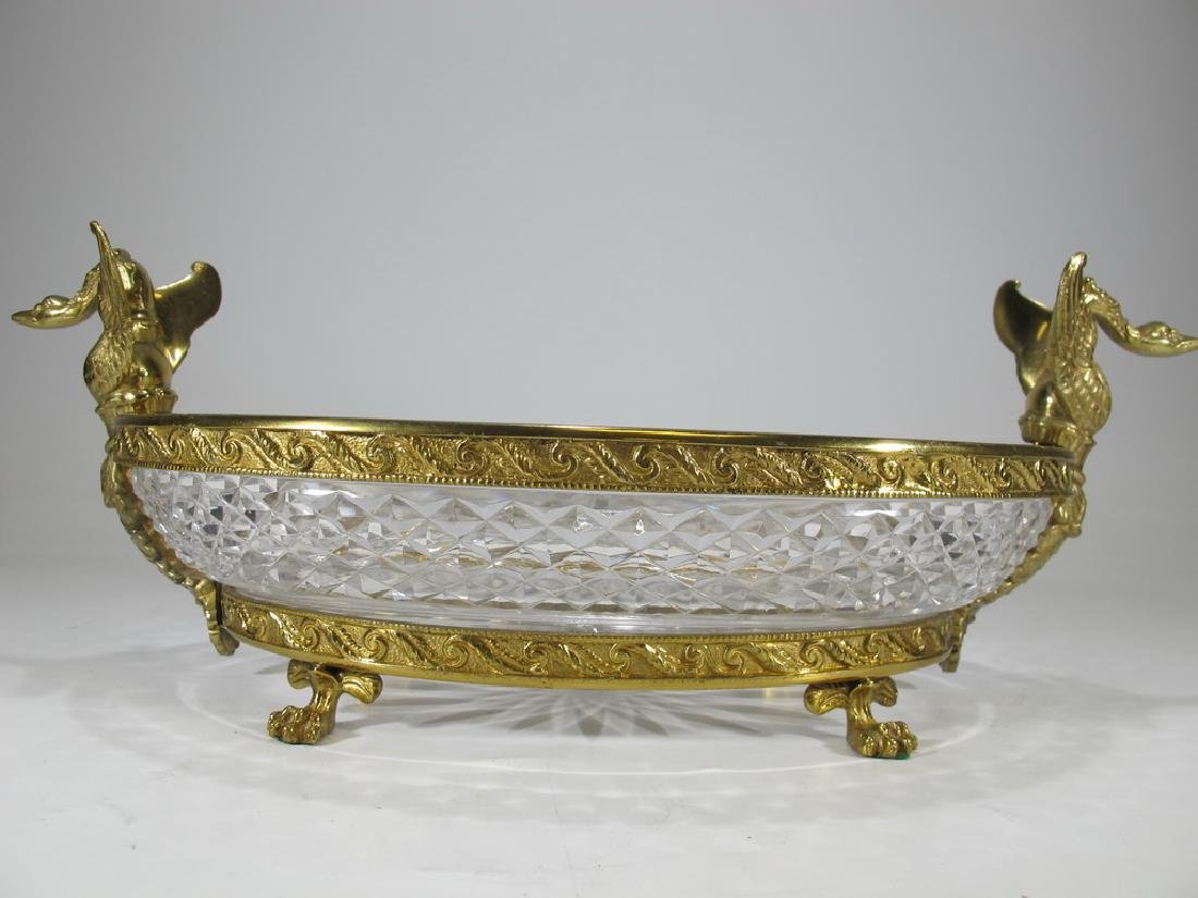 Antique French Baccarat style bronze & crystal - 3