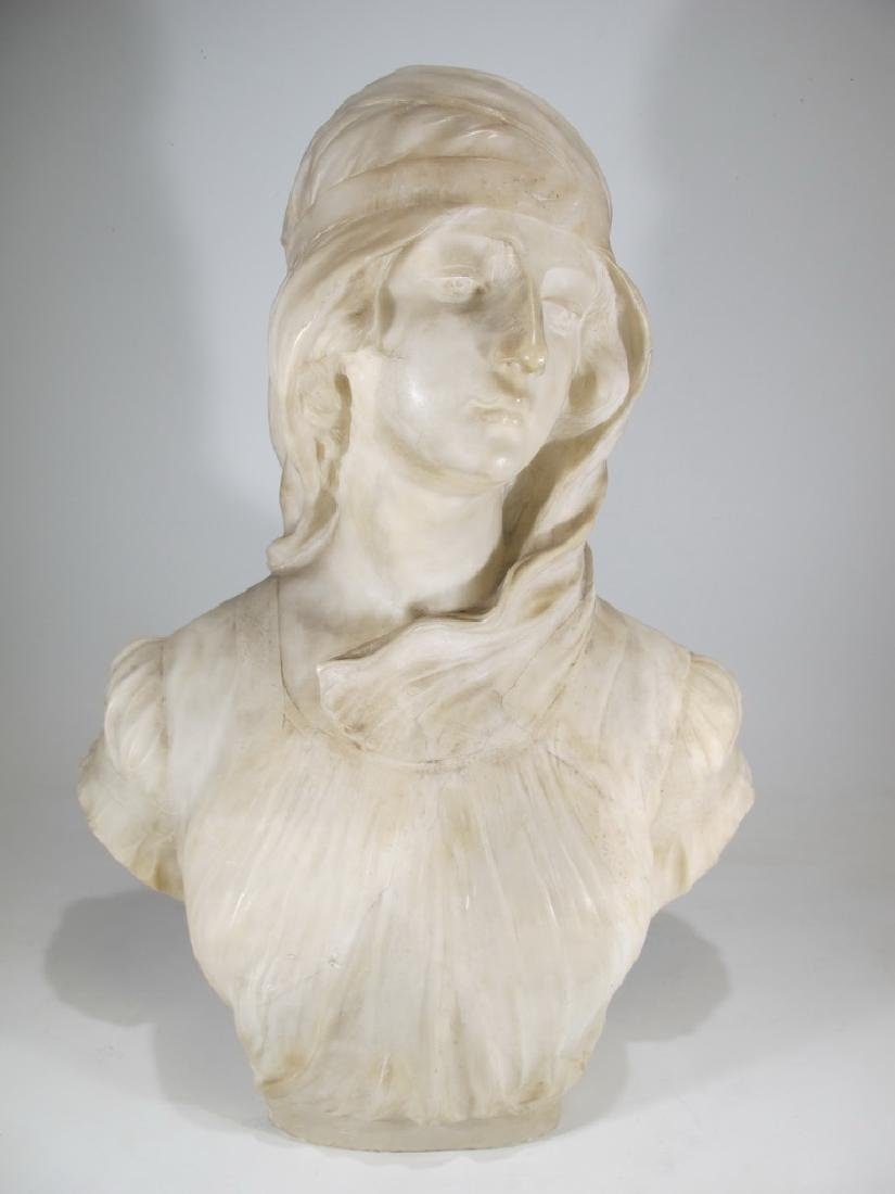 Great antique French alabaster woman bust sculpture