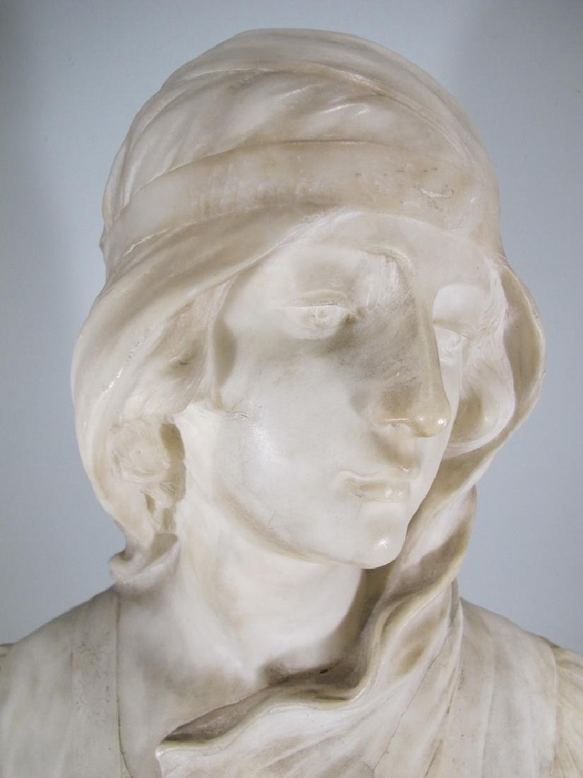 Great antique French alabaster woman bust sculpture - 3