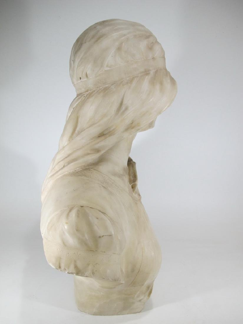 Great antique French alabaster woman bust sculpture - 5