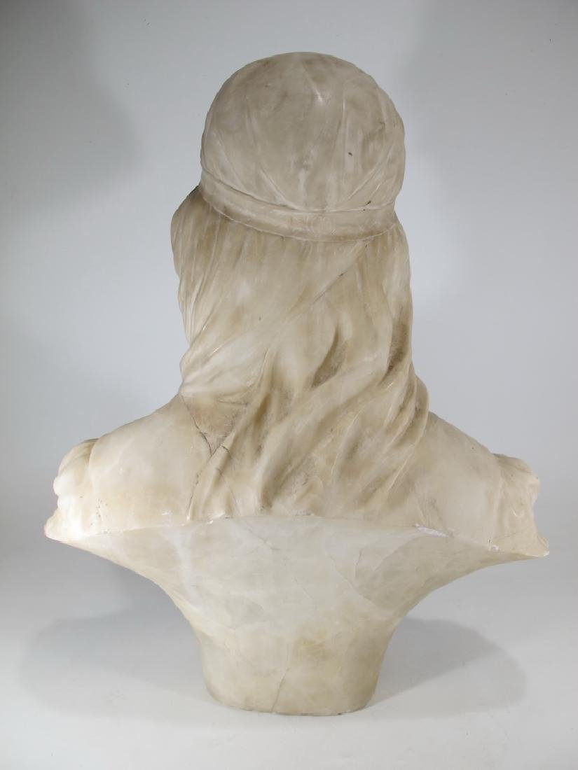 Great antique French alabaster woman bust sculpture - 6