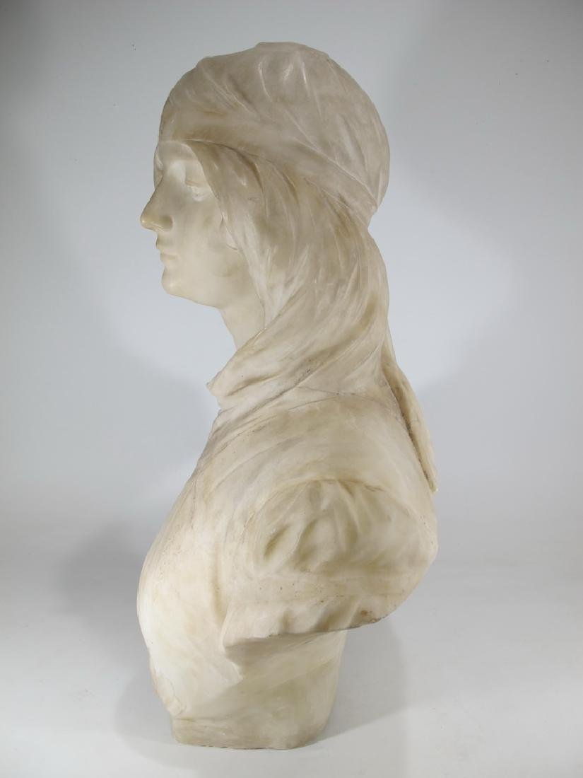 Great antique French alabaster woman bust sculpture - 7