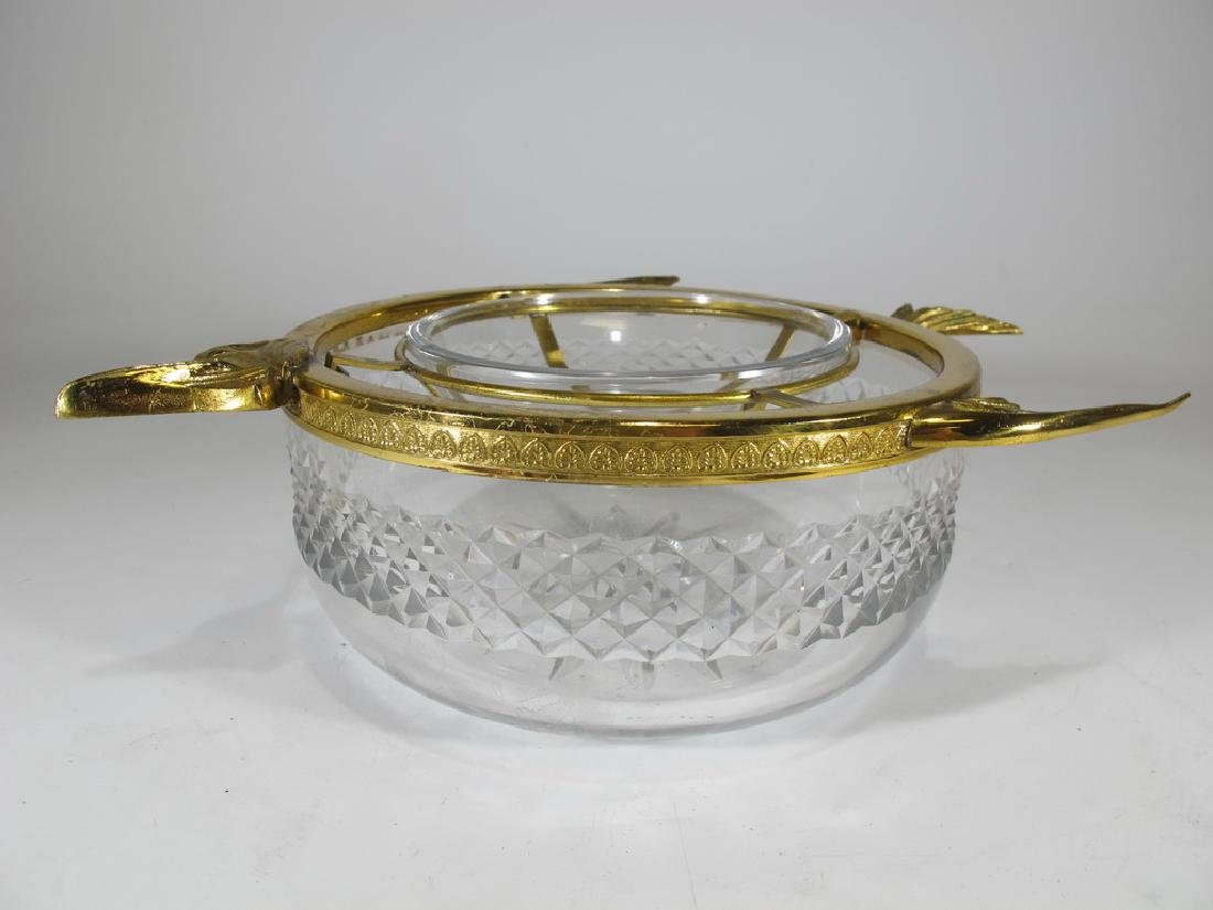 Antique French Baccarat style bronze & crystal caviar