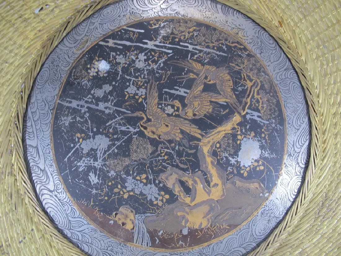 Antique Japanese brass & painted metal plate - 3