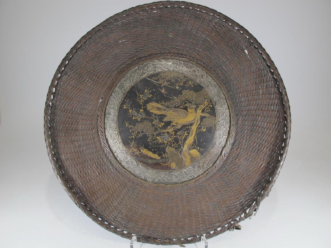 Antique Japanese brass & painted metal plate
