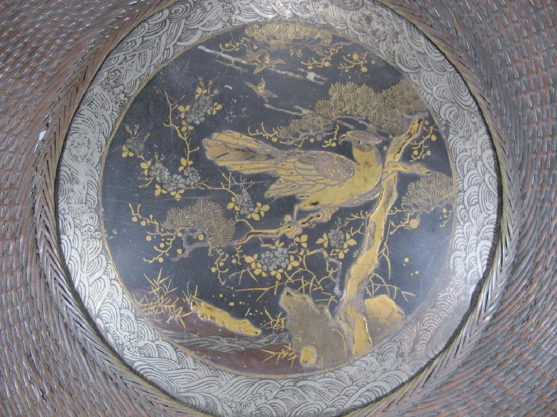 Antique Japanese brass & painted metal plate - 2