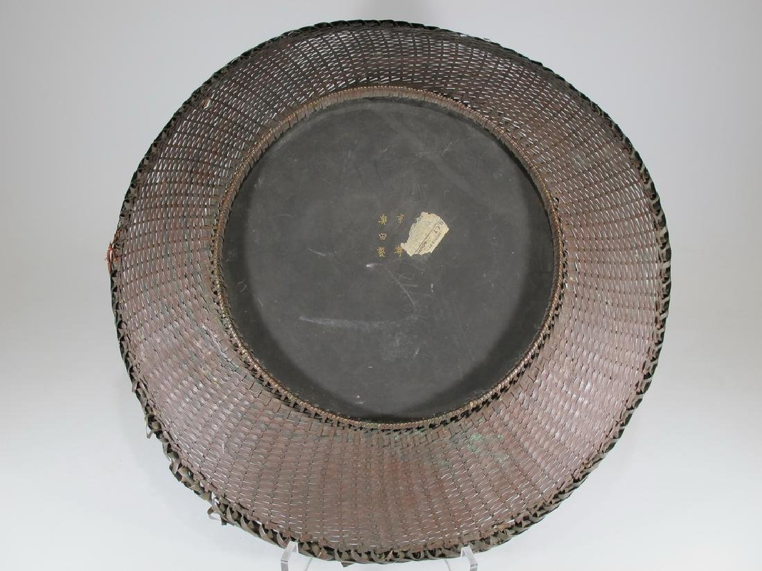 Antique Japanese brass & painted metal plate - 6
