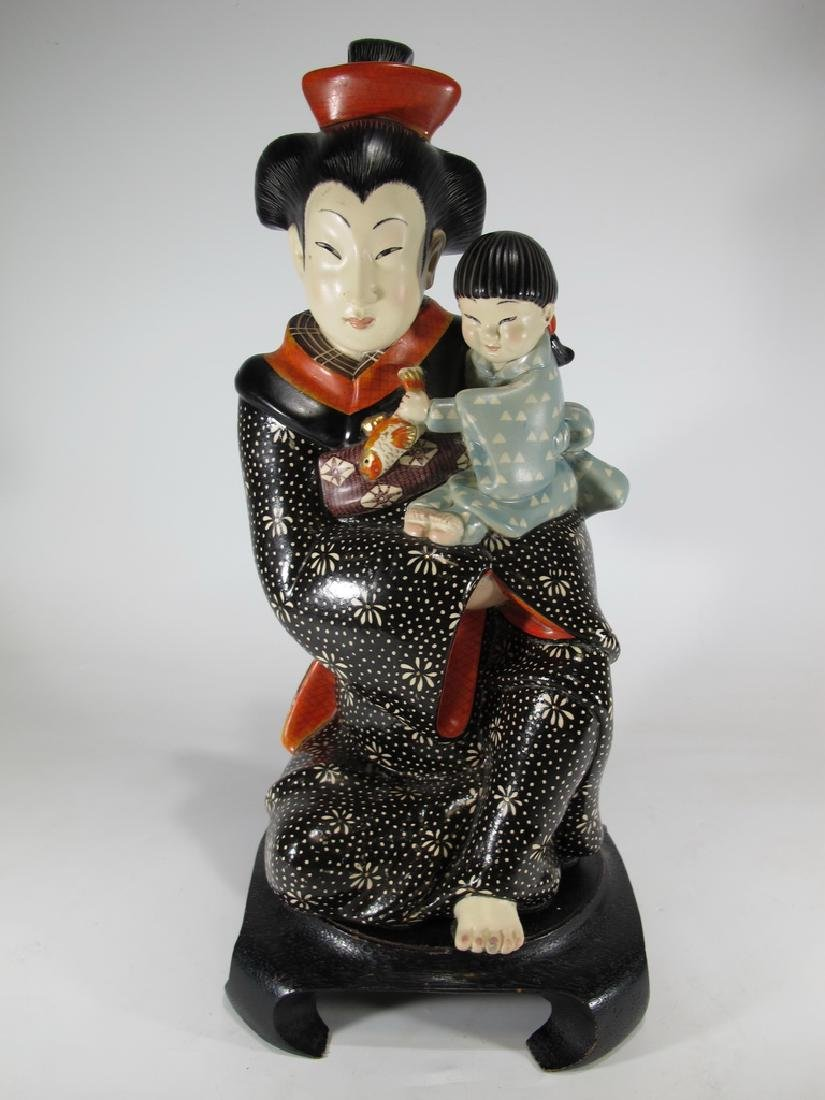 Antique Italian Lenci Japanese woman & child statue