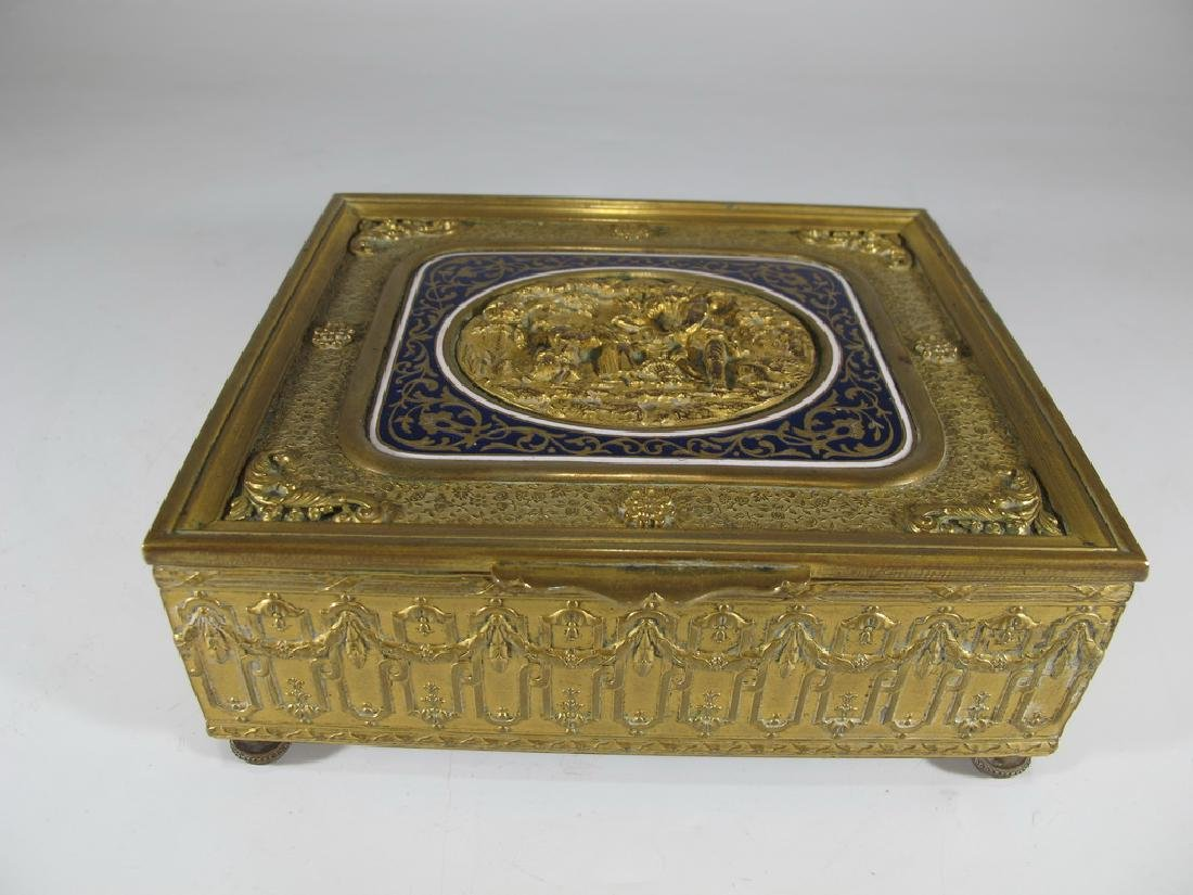 Great antique French bronze & enamel jewelry box