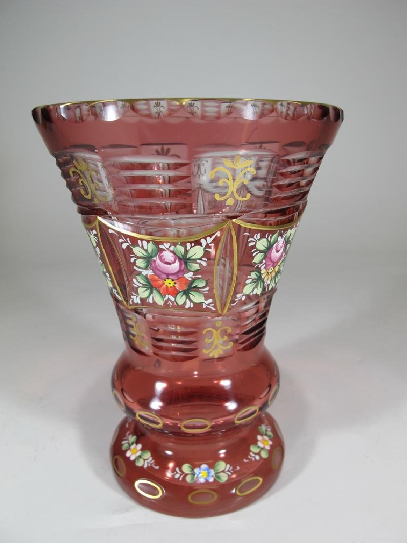 Antique Bohemian enameled glass vase