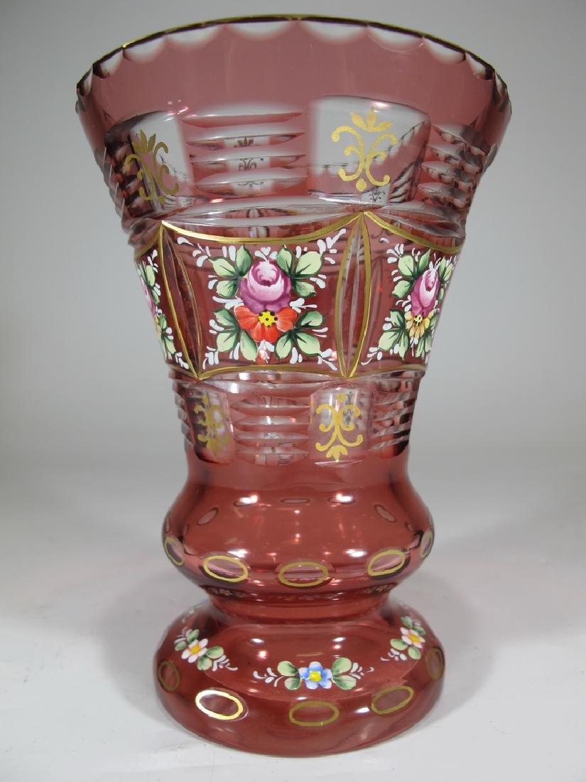 Antique Bohemian enameled glass vase - 3