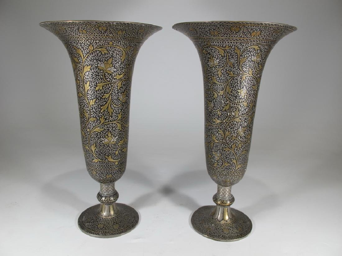 Antique pair of Orientalist Toledo style vases