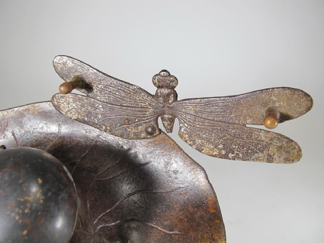 Antique Art Nouveau bronze inkwell - 4