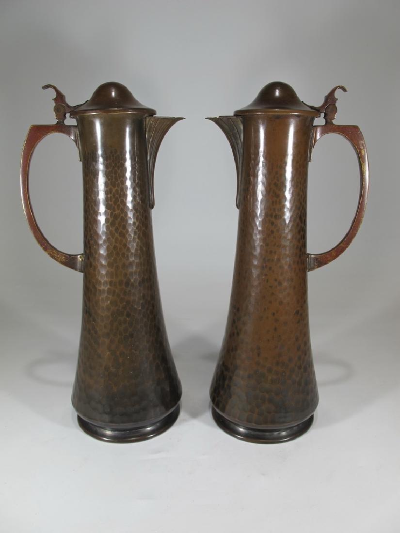 Antique German WMF pair of bronze jugs