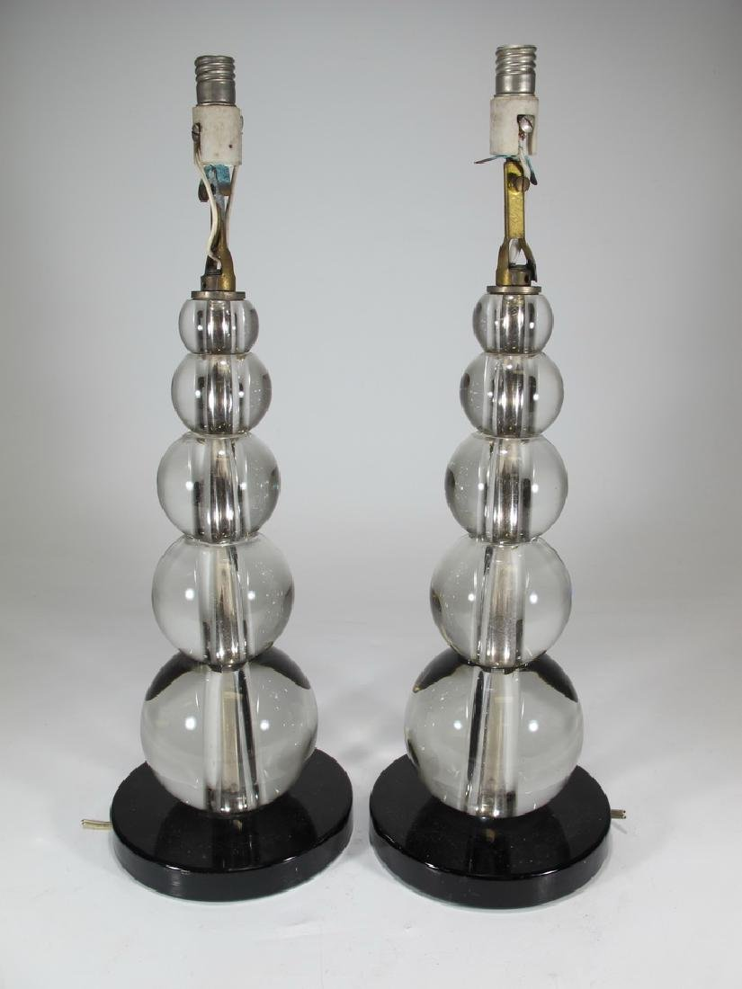 Vintage pair of glass table lamps
