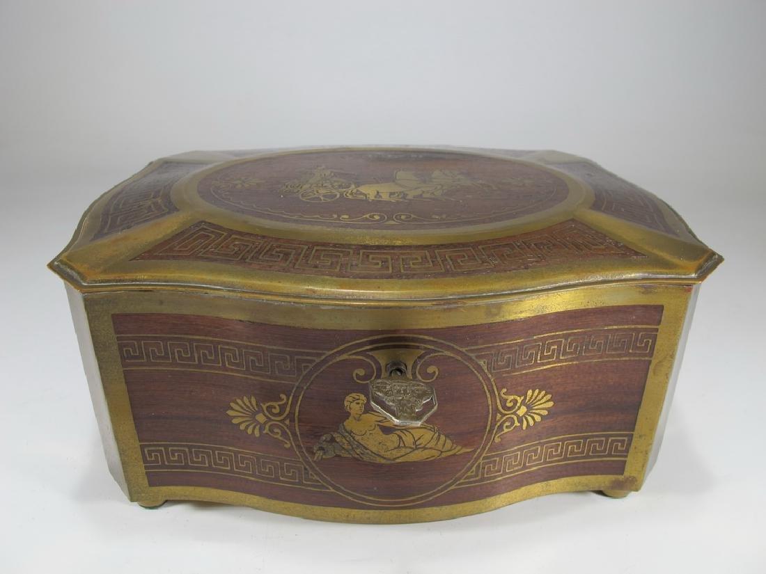 Antique German bronze inlay wood jewelry box