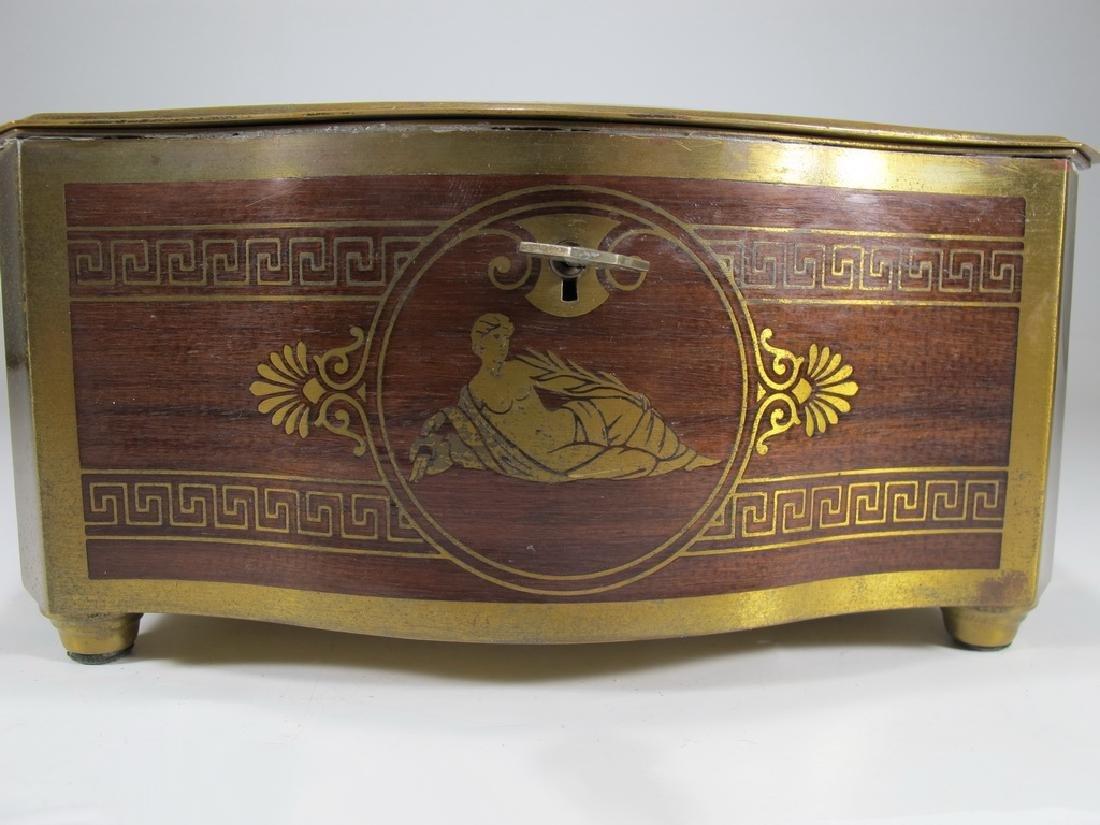 Antique German bronze inlay wood jewelry box - 2