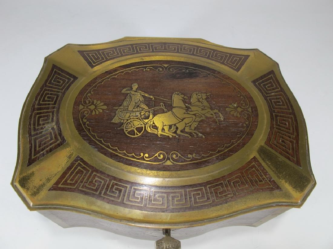 Antique German bronze inlay wood jewelry box - 3