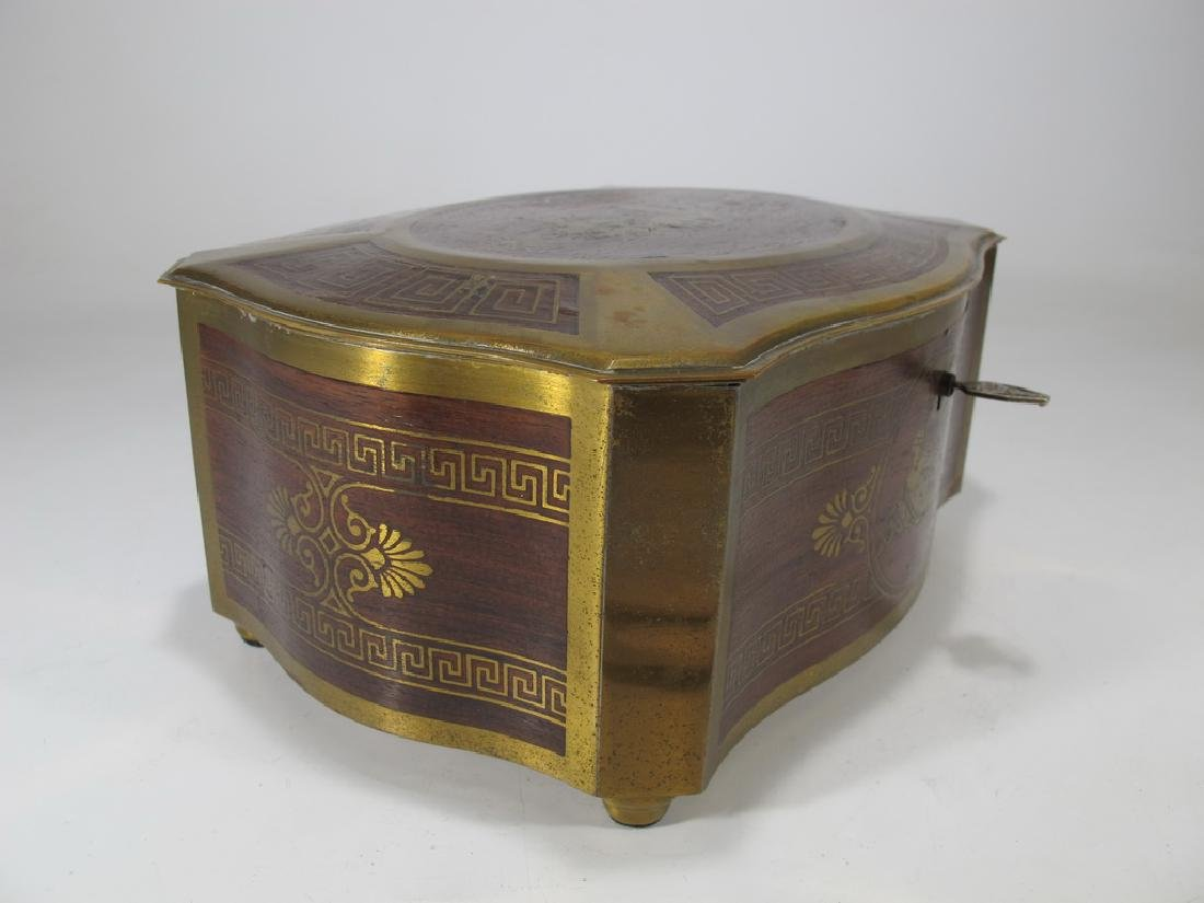 Antique German bronze inlay wood jewelry box - 4