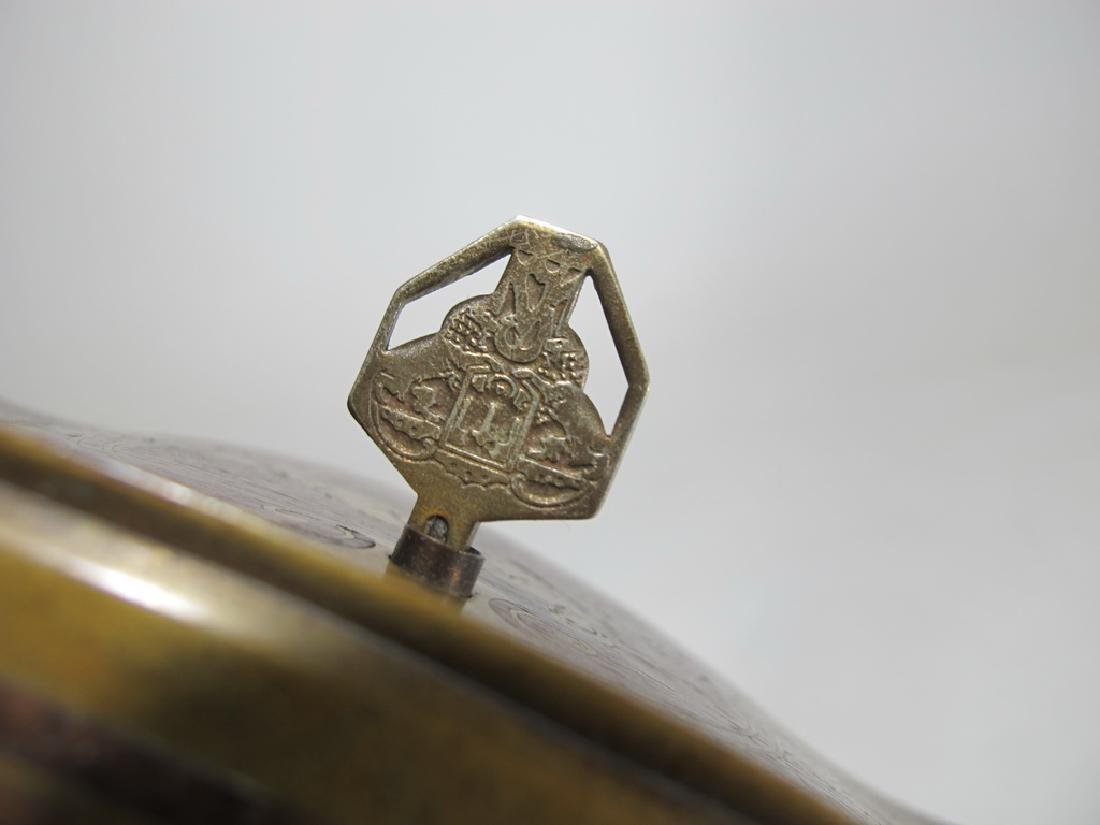 Antique German bronze inlay wood jewelry box - 5
